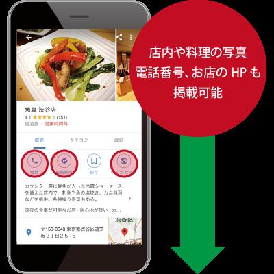 店内や料理の写真、電話番号、お店のHPも掲載可能